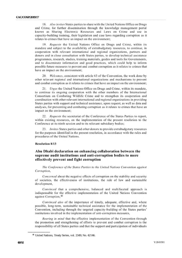 Abu Dhabi declaration on enhancing collaboration between the supreme audit institutions and anti corruption bodies to more effectively prevent and fight corruption