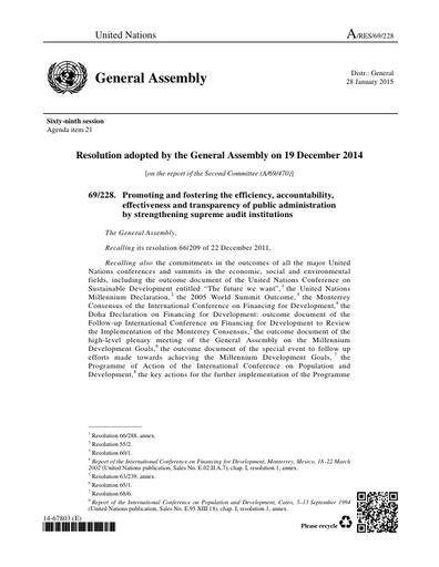 UN Resolution 69/228